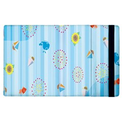 Animals Whale Sunflower Ship Flower Floral Sea Beach Blue Fish Apple Ipad 3/4 Flip Case by Mariart