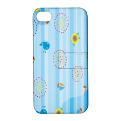 Animals Whale Sunflower Ship Flower Floral Sea Beach Blue Fish Apple Iphone 4/4s Hardshell Case With Stand by Mariart