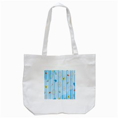 Animals Whale Sunflower Ship Flower Floral Sea Beach Blue Fish Tote Bag (white)