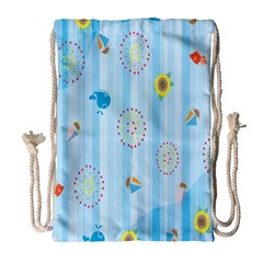 Animals Whale Sunflower Ship Flower Floral Sea Beach Blue Fish Drawstring Bag (large) by Mariart