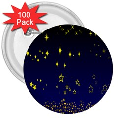 Blue Star Space Galaxy Light Night 3  Buttons (100 Pack)  by Mariart