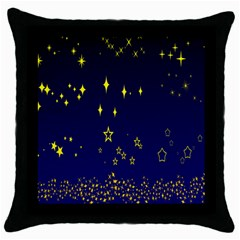 Blue Star Space Galaxy Light Night Throw Pillow Case (black) by Mariart