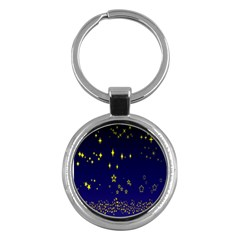 Blue Star Space Galaxy Light Night Key Chains (round)  by Mariart