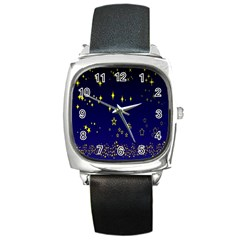 Blue Star Space Galaxy Light Night Square Metal Watch by Mariart