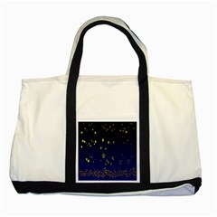Blue Star Space Galaxy Light Night Two Tone Tote Bag by Mariart