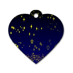 Blue Star Space Galaxy Light Night Dog Tag Heart (two Sides) by Mariart