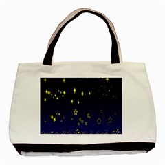 Blue Star Space Galaxy Light Night Basic Tote Bag (two Sides) by Mariart