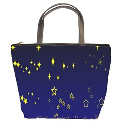 Blue Star Space Galaxy Light Night Bucket Bags by Mariart