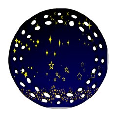 Blue Star Space Galaxy Light Night Round Filigree Ornament (two Sides) by Mariart