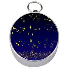 Blue Star Space Galaxy Light Night Silver Compasses by Mariart