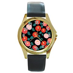 Candy Sugar Red Pink Blue Black Circle Round Gold Metal Watch by Mariart