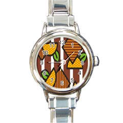 Chocolate Lime Brown Circle Line Plaid Polka Dot Orange Green White Round Italian Charm Watch