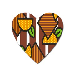 Chocolate Lime Brown Circle Line Plaid Polka Dot Orange Green White Heart Magnet by Mariart