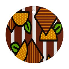 Chocolate Lime Brown Circle Line Plaid Polka Dot Orange Green White Round Ornament (two Sides) by Mariart