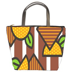 Chocolate Lime Brown Circle Line Plaid Polka Dot Orange Green White Bucket Bags by Mariart