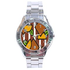 Chocolate Lime Brown Circle Line Plaid Polka Dot Orange Green White Stainless Steel Analogue Watch by Mariart