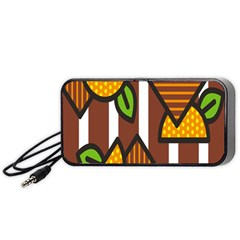 Chocolate Lime Brown Circle Line Plaid Polka Dot Orange Green White Portable Speaker (black) by Mariart