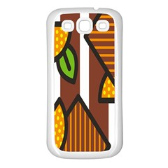 Chocolate Lime Brown Circle Line Plaid Polka Dot Orange Green White Samsung Galaxy S3 Back Case (white) by Mariart