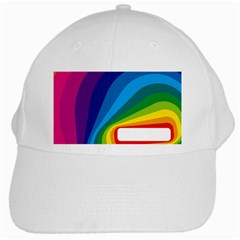 Circle Rainbow Color Hole Rasta Waves White Cap by Mariart