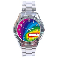 Circle Rainbow Color Hole Rasta Waves Stainless Steel Analogue Watch by Mariart