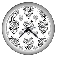 Black Paw Hearts Love Animals Wall Clocks (silver)  by Mariart