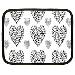 Black Paw Hearts Love Animals Netbook Case (xxl)  by Mariart