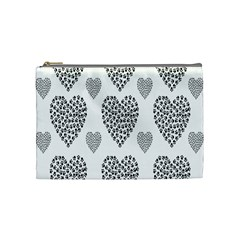 Black Paw Hearts Love Animals Cosmetic Bag (medium)  by Mariart
