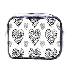 Black Paw Hearts Love Animals Mini Toiletries Bags by Mariart