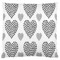 Black Paw Hearts Love Animals Large Cushion Case (two Sides) by Mariart
