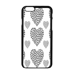 Black Paw Hearts Love Animals Apple Iphone 6/6s Black Enamel Case by Mariart