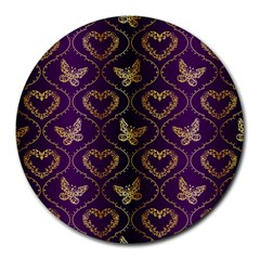 Flower Butterfly Gold Purple Heart Love Round Mousepads by Mariart