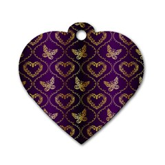 Flower Butterfly Gold Purple Heart Love Dog Tag Heart (one Side) by Mariart