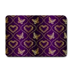 Flower Butterfly Gold Purple Heart Love Small Doormat  by Mariart