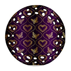 Flower Butterfly Gold Purple Heart Love Ornament (round Filigree) by Mariart