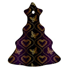 Flower Butterfly Gold Purple Heart Love Christmas Tree Ornament (two Sides) by Mariart