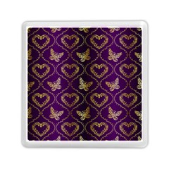 Flower Butterfly Gold Purple Heart Love Memory Card Reader (square)  by Mariart