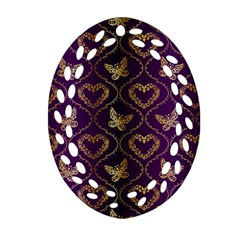 Flower Butterfly Gold Purple Heart Love Oval Filigree Ornament (two Sides) by Mariart