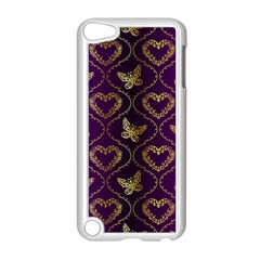 Flower Butterfly Gold Purple Heart Love Apple Ipod Touch 5 Case (white) by Mariart