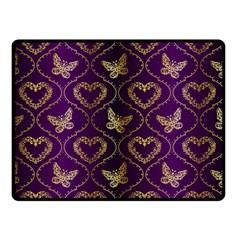 Flower Butterfly Gold Purple Heart Love Double Sided Fleece Blanket (small)  by Mariart