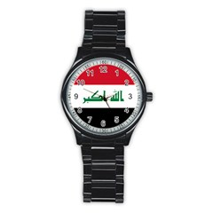 Flag Of Iraq  Stainless Steel Round Watch by abbeyz71