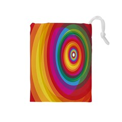 Circle Rainbow Color Hole Rasta Drawstring Pouches (medium)  by Mariart