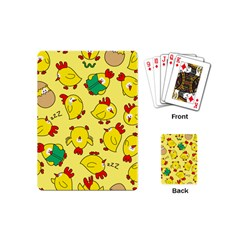 Animals Yellow Chicken Chicks Worm Green Playing Cards (mini)  by Mariart