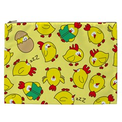 Animals Yellow Chicken Chicks Worm Green Cosmetic Bag (xxl)  by Mariart