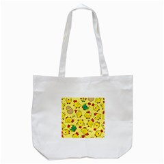 Animals Yellow Chicken Chicks Worm Green Tote Bag (white) by Mariart