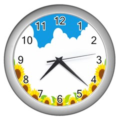 Cloud Blue Sky Sunflower Yellow Green White Wall Clocks (silver)  by Mariart