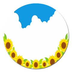 Cloud Blue Sky Sunflower Yellow Green White Magnet 5  (round) by Mariart