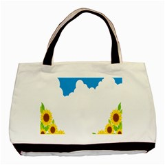 Cloud Blue Sky Sunflower Yellow Green White Basic Tote Bag by Mariart