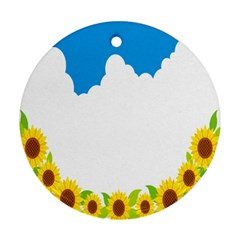 Cloud Blue Sky Sunflower Yellow Green White Round Ornament (two Sides) by Mariart