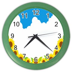 Cloud Blue Sky Sunflower Yellow Green White Color Wall Clocks by Mariart