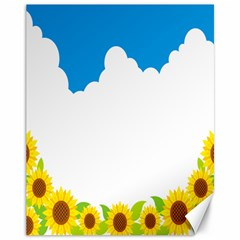 Cloud Blue Sky Sunflower Yellow Green White Canvas 11  X 14   by Mariart